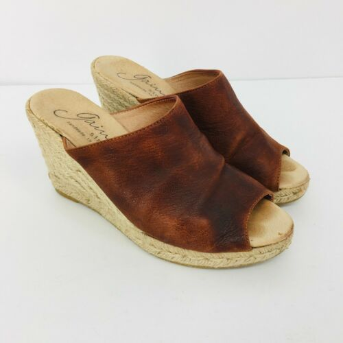Giamo Brown Oiled Leather Open Toe Espadrilles Wed