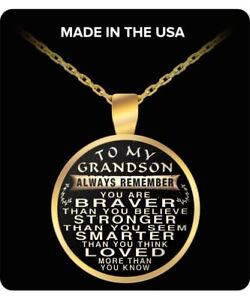 To My Grandson Always Remember Quote Pendant Necklace Ebay
