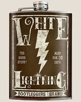 Trixie & Milo White Lightning Thunder Strike Alcohol Classic Art 8 Oz Flask