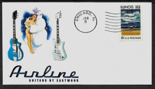 1960s Airline Electric Guitar /& Pin Up Girl on Collector/'s Envelope  *A233