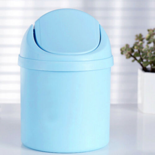 Desktop Trash Can Mini Plastic Countertop Waste Garbage With Roll Swing Top Lid