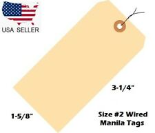 Pack Of 100 Size 2 Manila Inventory Shipping Hang Tags With Wire 3 14 X 1 58