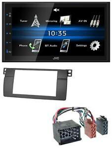 JVC-2DIN-Bluetooth-MP3-AUX-USB-Autoradio-fuer-BMW-3er-E46-mit-grossem-Navi-Rundpin