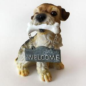 "Dog TERRIER with bone and dangling ""WELCOME"" sign Lot 4C"