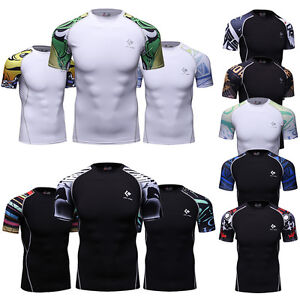 Mens-Workout-Compression-T-Shirts-Quick-dry-Fitness-Top-Running-Basketball-Gym