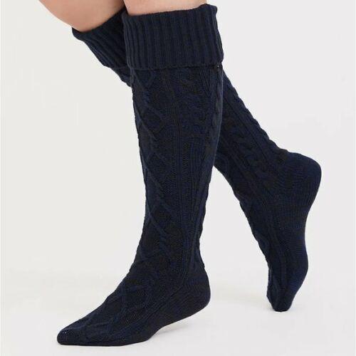 Torrid 7-9 10-13 Socks Navy Blue Knee High Tall Soft Cable Knit Fold Down Plus