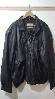 Akaso Nero Vintage Leatherwear Vera Pelle Stile Biker Bomber Taglia Xxl-mostra Il Titolo Originale