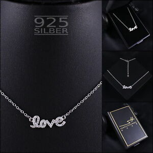 LOVE-Kette-Halskette-925-Sterling-Silber-Damen-SWAROVSKI-ELEMENTS-inkl-ETUI
