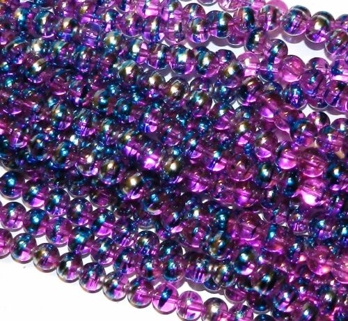 "G2351 Light Fuchsia Purple 8mm Round Metallic Drawbench Swirl Glass Bead 32/"""