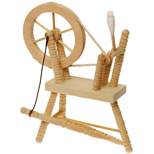 Spinnrad Miniatur Puppenstube Maßstab 1:12 Puppenh aus hellem natur Holz