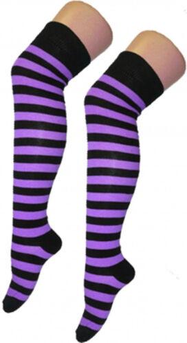 Womens Ladies Over The Knee Socks Plain/&Stripe Thigh High Stretchable OTK Socks