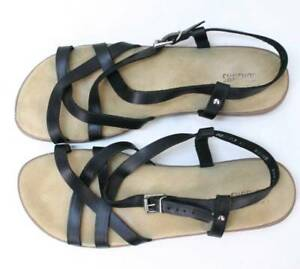d4f01a652d Image is loading BASS-Sunjuns-Black-Leather-Casual-Comfortable-Strappy- Sandals-