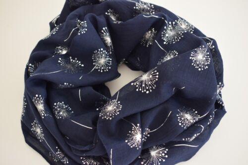 viscose Belle Loop écharpe avec Argent Paillettes PUSTEBLUME en Bleu Foncé Cotton