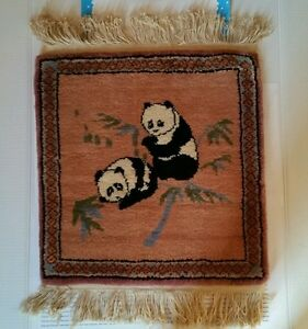 "Black & White Panda Bears Rug Wall Hanging 17"" x 18"""
