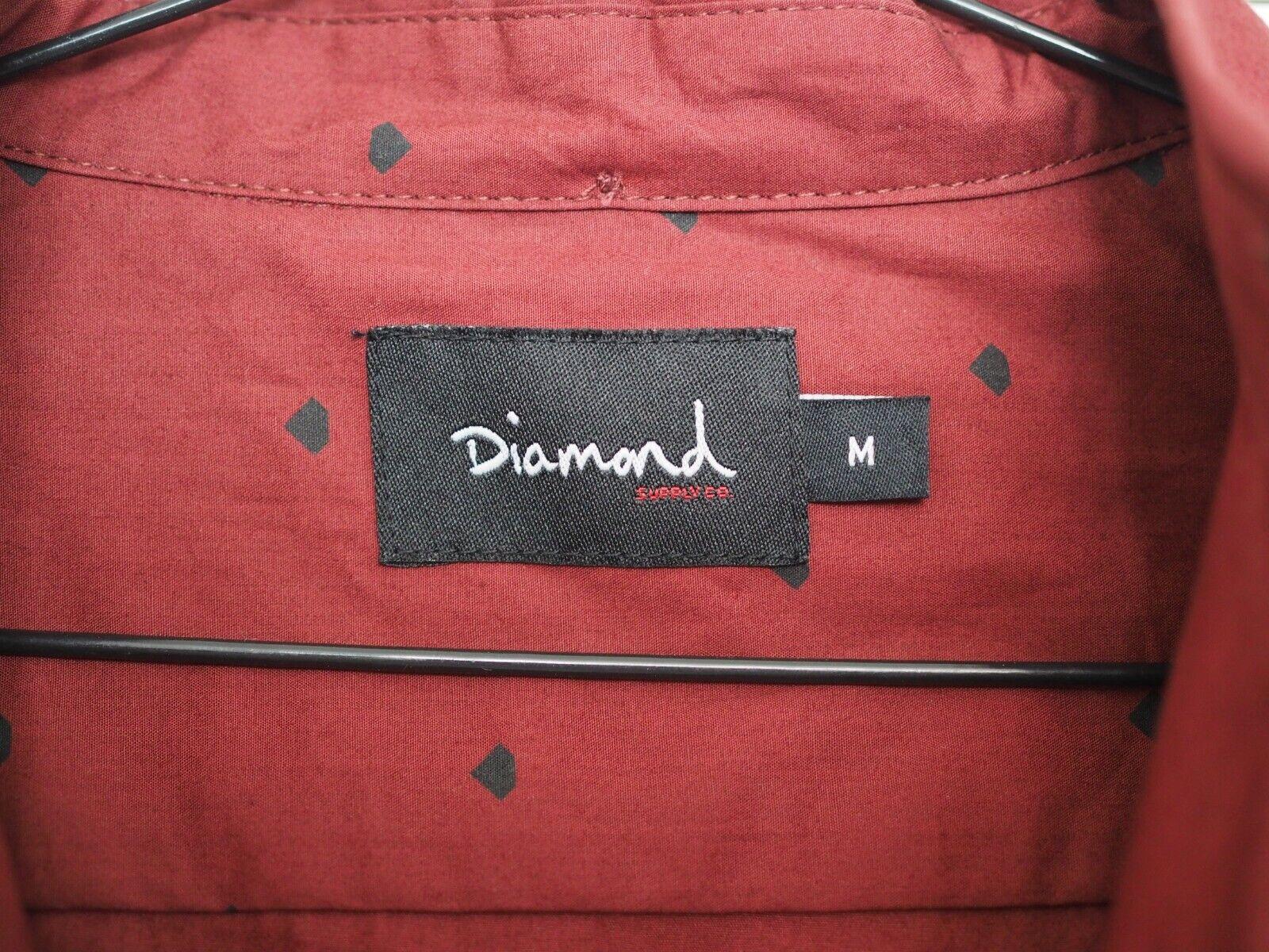 Diamond Supply Co da da da Uomo Bottoni Camicia A Maniche Lunghe Vino Rosso Bordeaux M Medium 9c9a9f