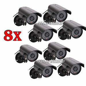 8PCS 1200TVL CMOS HD 36 IR Waterproof CCTV Surveillance Camera IR-Cut System BLK
