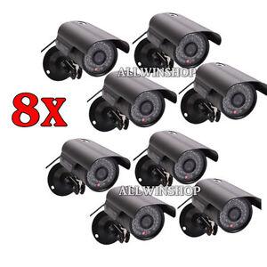 8PCS 1200TVL CMOS HD 36 IR Waterproof CCTV Surveillance Camera IR-Cut System BLK