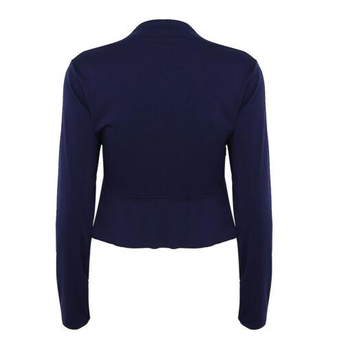Womens Long Sleeve Bolero Shrug Coat Stretch Cropped Cardigan Top Ruffle Sweater
