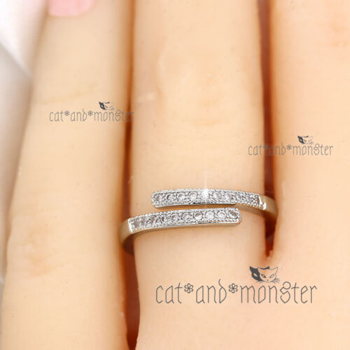 18K WHITE GOLD GF SOLID SILVER PAVE CRYSTALS TWIST BAND WAVE ETERNITY WISH RING