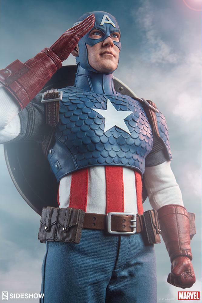 SIDEmostrare Marvel Capitan America cifra in scala 16 Nuovo di zecca Nuovo in Scatola