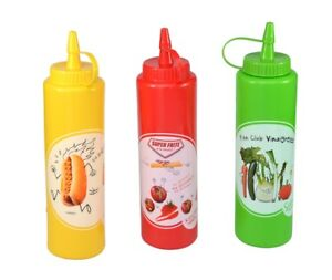 Squeeze-Flasche-in-drei-Farben-fuer-Ketchup-Senf-Vinaigrette-Quetschflasche