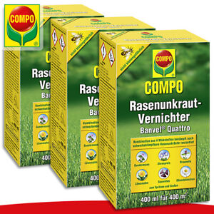 COMPO-3-x-400-ml-Rasenunkraut-Vernichter-Banvel-Quattro-Gaensebluemchen-Loewenzahn