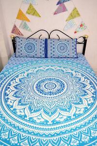 Blue Ombre Mandala Quilt Duvet Cover With 2 Pillow Covers Bedding ... : mandala quilts - Adamdwight.com