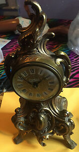 Vintage Ornate Brass Marie Antoinette Clock- Working Condition