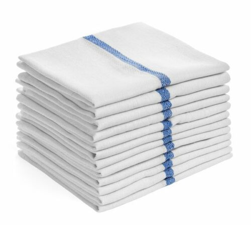 48 pack 24oz blue stripe lint free commercial cleaning towels herringbone 15x25