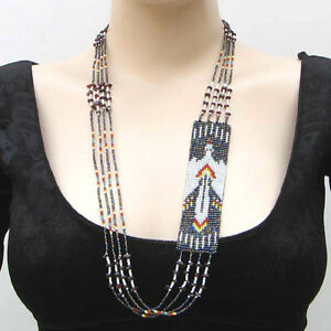 RED-BLACK-WHITE-EAGLE-FASHION-LONG-SEED-BEADED-LAYERED-NECKLACE-N20-2