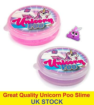 Unicorn Poo Pink Glitter Slime Putty Squishy Tub Kids Girls Party Bag Filler Toy