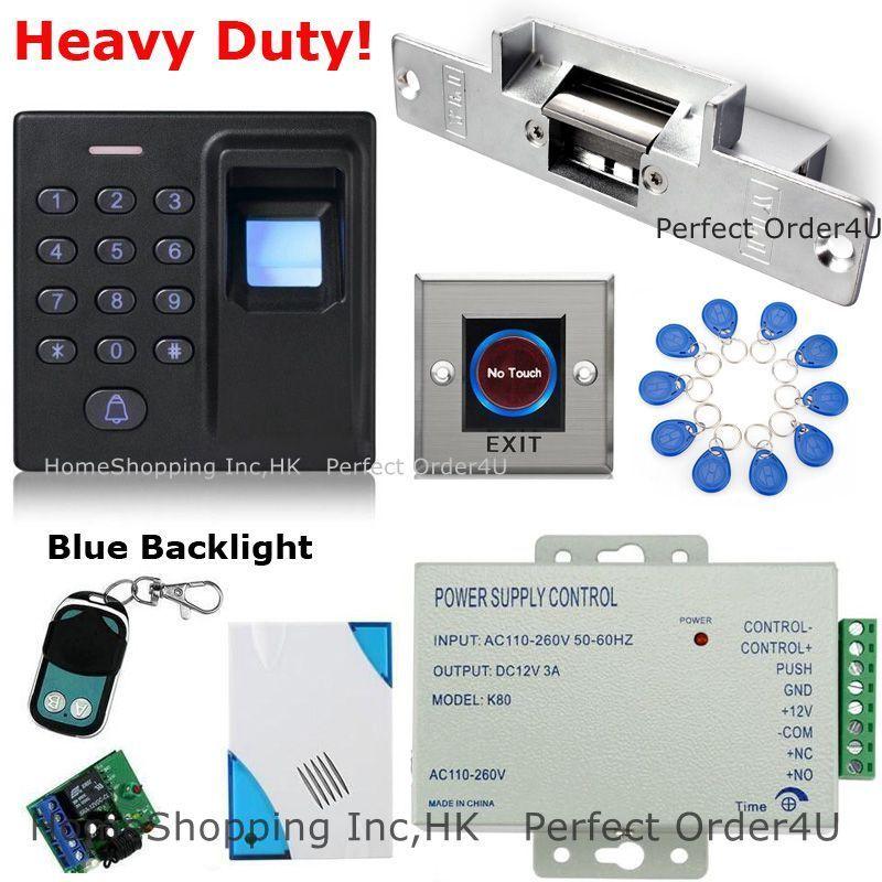 Huella Digital +125KHz Tarjeta Rfid + contraseña puerta sistema de control de acceso + huelga eléctrica