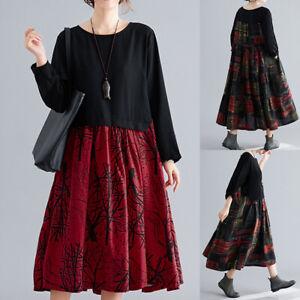 ZANZEA-Femme-Robe-Dresse-Vintage-Floral-Col-Rond-Manche-Longue-Plisse-Oversize