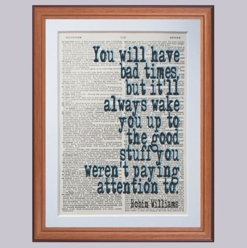 gift  inspiration motivation Robin Williams quote dictionary page art prints