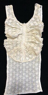 rf951-20 Vintage Victorian Era Jabot Collar Dickie; Hand Crocheted Ivory Lace Making Things Convenient For The People