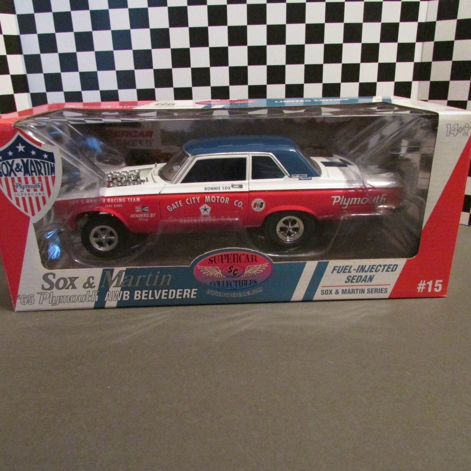 DCP Supercar,1965 Plymouth Belvedere, Sox & Martin'1 18 sc. model, AWB,Issue  15