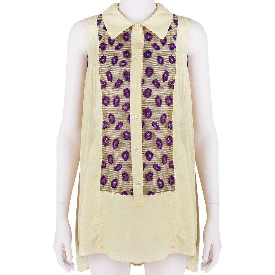 Giles Deacon Pale Gelb lila Lip Embroiderot Mesh Blouse Shirt Top IT40 UK8