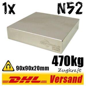Neodym-Magnet-90x90x20mm-470kg-Zugkraft-N52-super-power-Hochleistungsmagnet