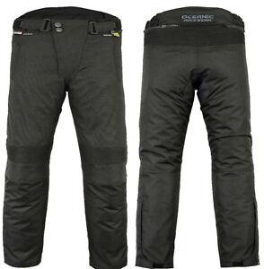 Mens-CE-Armoured-Textile-Cordura-Motorcycle-Motorbike-Waterproof-Trousers-Pants