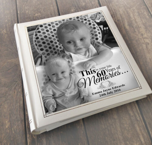 "Personalised large photo album 6x4/"" x 200 this is your life 60 years of memories"