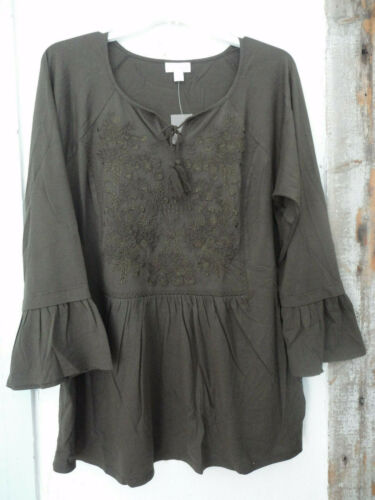 J JILL  XL Cotton Knit Top Embroidered Peasant Tunic w Tassles  Pine Green  NWT