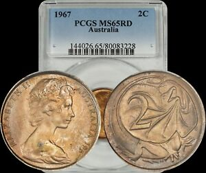 1967-Australia-2-Cents-PCGS-MS65RD-BU-Uncirculated-Lightly-Toned-Coin