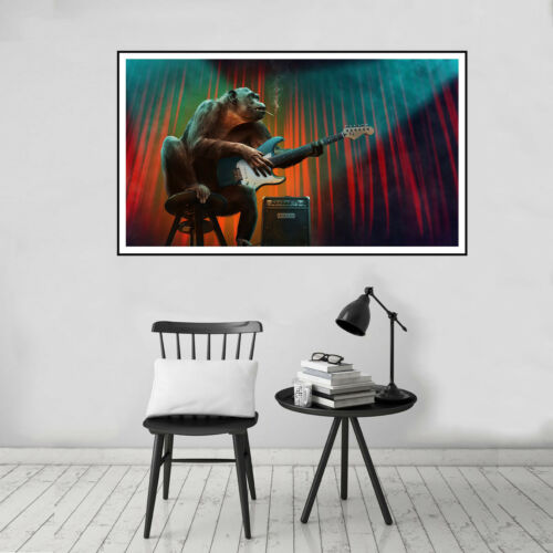 Monkey Playing Guitar Concert  Wall Poster Canvas Print Art Picture Home Decor