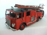 Large Tin Plate Model Of A Vintage Old Style Fire Engine / Red / Ornament /gift