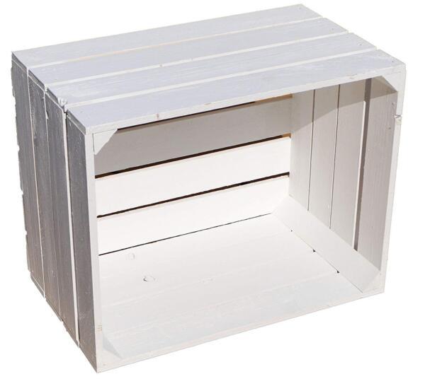 1 X Bianco Wash In Legno Massello Vintage Apple Crate Box Dipinto Decorazione Matrimonio