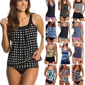 Women-039-s-Tankini-Sets-Vest-Shorts-Swimming-Costume-Two-Pieces-Swimsuit-Beachwear