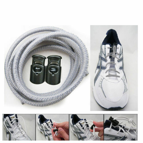 Elastic Shoe Laces Tie Fast Triathlon Marathon Running Run Shoelaces Relief Gray