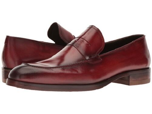 NIB Donald J. Pliner Men's Zylon Leather Slip On Loafer shoes in Red
