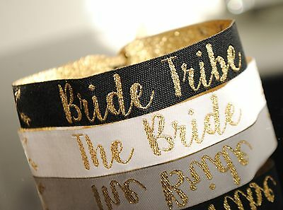 Personalised Hen Party Wristbands in Black and white with gold text