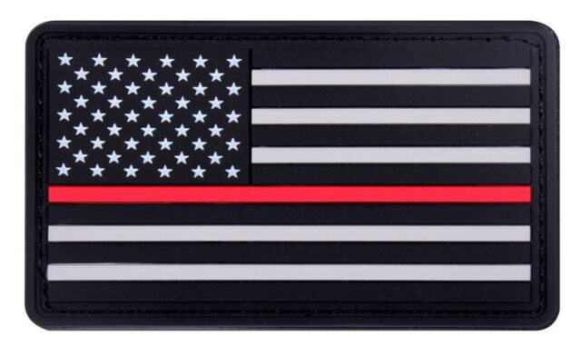"""Subdued PVC Thin Red Line Support Firefighters US Flag Patch 1-7/8"""" x 3-3/8"""""""